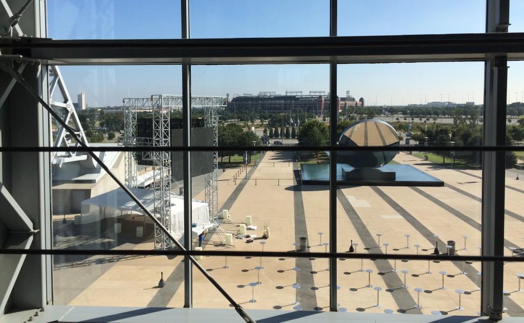 View of plaza & Texas Rangers Stadium through giant doors at end zone