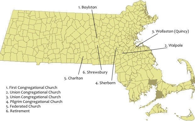 Map of Churches with Legend