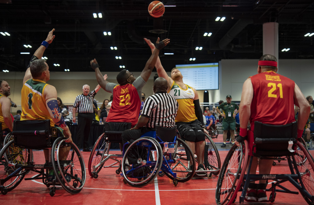 The U.S. Marine Corps wheelchair basketball team faces Australia in the first game of the DoD Warrior Games wheelchair basketball tournament in Tampa, Florida, June 24 2019. DoD (Photo by Sgt. Annika Moody, USMC)