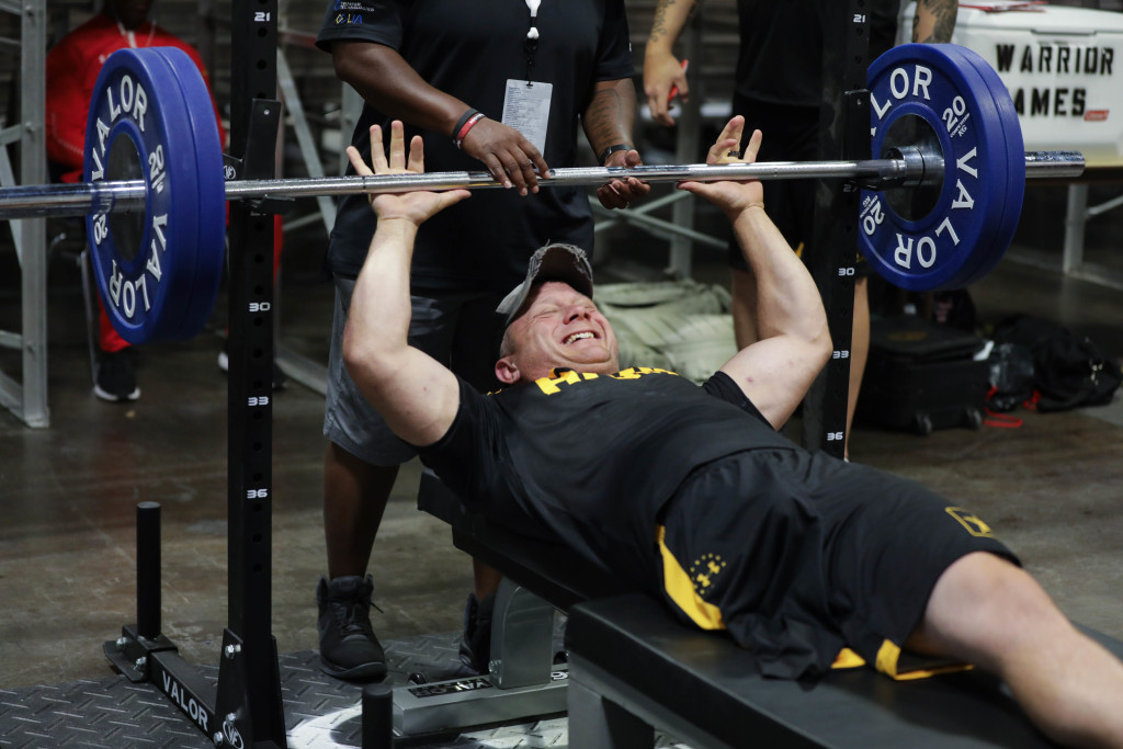 U.S. Army veteran Joshua Olsen competes in the powerlifting event, June 24, 2019, at the Tampa Convention Center during the 2019 Department of Defense Warrior Games. (U.S. Army photo by Spc. Seara Marcsis)